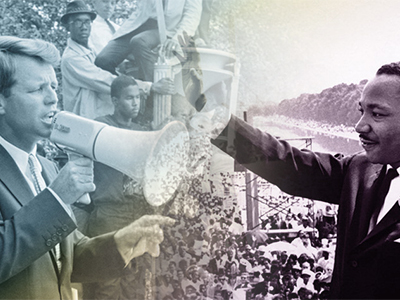Collage of social reformers Robert F Kennedy and Martin Luther King Jr