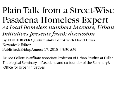 newspaper headline - Straight talk from a streetwise Pasadena homeless expert